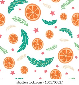 Christmas Happy New Year seamless pattern Coniferous branches orange Trendy retro style. Vector
