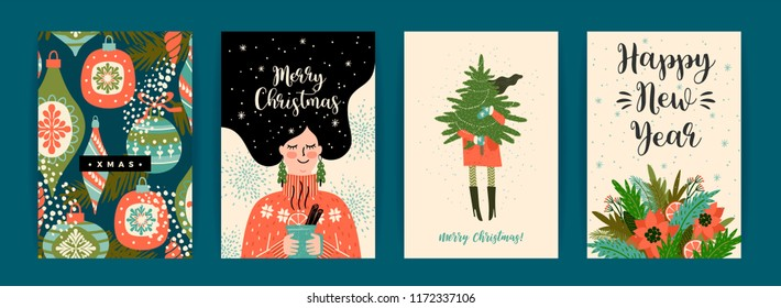 Christmas and Happy New Year templates. Trendy retro style. Vector design template.