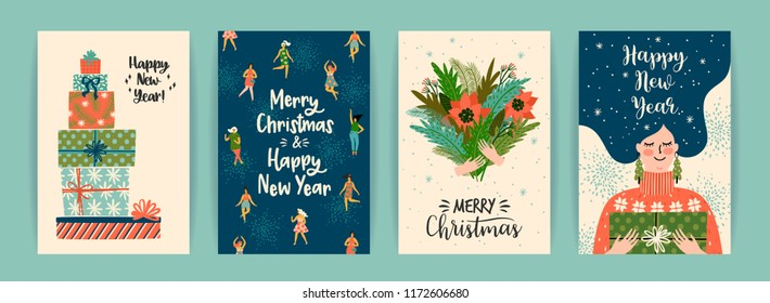 Christmas and Happy New Year templates. Trendy retro style. Vector design elements.