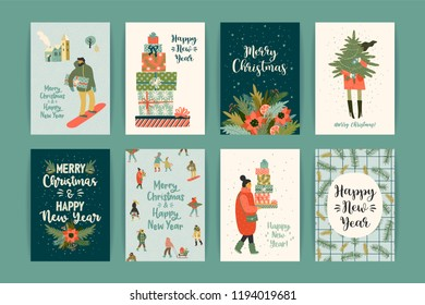 Christmas and Happy New Year templates. Trendy retro style. Vector design element.