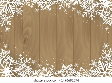 Christmas and happy new year vector background with snowflake on wooden, celebration concept