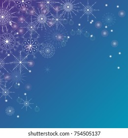 Christmas, Happy New Year vector greeting illustration. Winter blue white holiday background with snowflakes for postcards, banners, cover design,invitations,labels,web design.