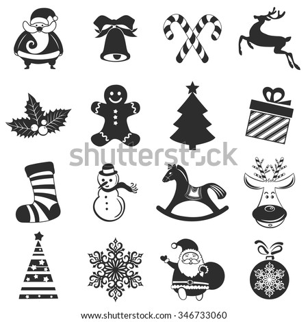 christmas happy new year and winter icons collection set of holidays symbols elements