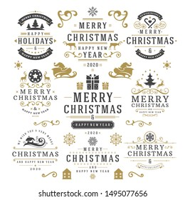 Christmas and happy new year wishes labels and badges set vector illustration. Vintage typographic decoration objects, symbols and ornate elements vector illustration