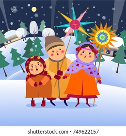Christmas. Happy New Year.Christmas greeting card.The children are singing christmas song.