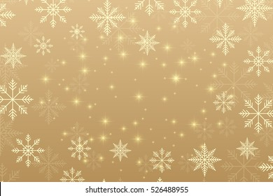 Christmas and Happy New Years background with golden snowflakes. Vector illustration