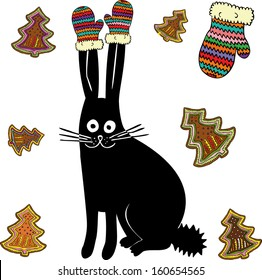 Christmas hare with knitted mittens and cookies. Hand drawn illustration.