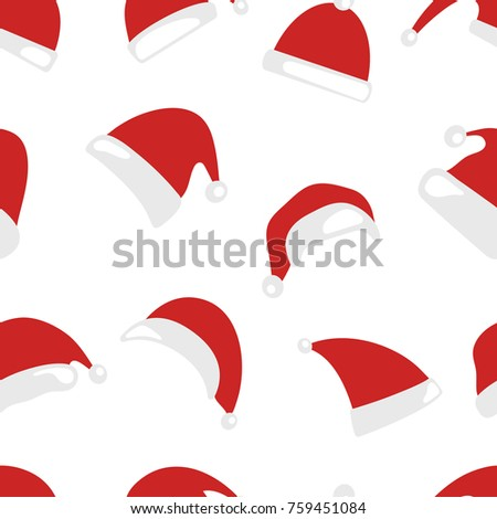 8fb5c059666 Christmas hat seamless pattern isolated on white background. Santa Claus  hats set. Happy New