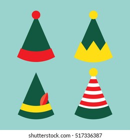 Christmas Hats. New year Elf hats Vector illustration