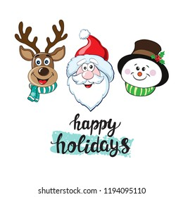 Christmas head Santa Claus, rudolph, snowman and lettering happy holidays