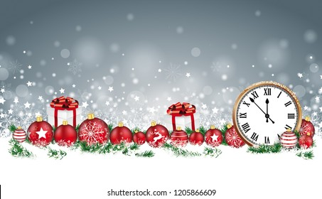 Christmas header with classic clock, baubles, gifts and twigs in the snow. Eps 10 vector file.