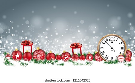 Christmas header with clock, baubles, gifts and twigs in the snow. Eps 10 vector file.