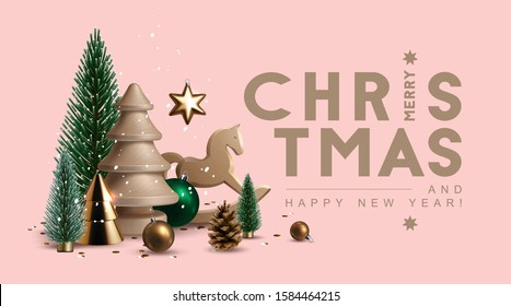 Christmas header with composition made of glass, wooden and plastic Christmas trees, glass ornaments, festive elements and season greetings. Vector Illustration.