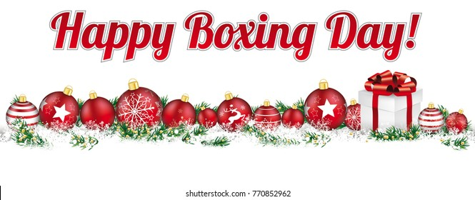 Christmas headline with the text Happy Boxing Day. Eps 10 vector file.