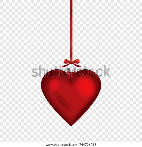 Christmas Heart Vector.Christmas Heart Shape Ornament Red Ribbon Stock Vector