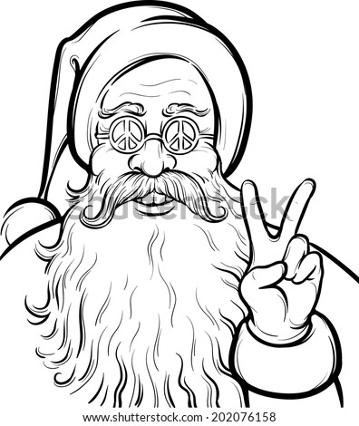 Christmas Hippie Coloring Page With Santa Claus