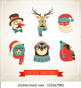 Christmas hipster animals. Vector illustration