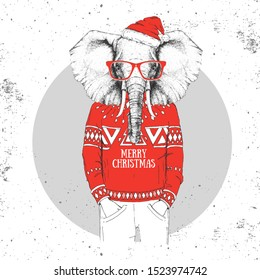 Christmas Hipster fashion animal elephant dressed in New Year hat and pullover