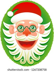 Christmas hipster Santa Claus face wearing red hat and old style glasses. He's smiling animatedly and posing in a portrait style. He shows curly prominent beard and red nose. Green oval as background