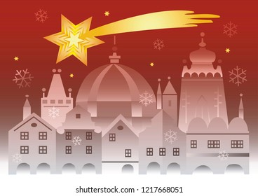 Christmas historic town with bethlehem star.  Christmas card with the stylized historical bildings from Prague and bethlehem star.Vector available.