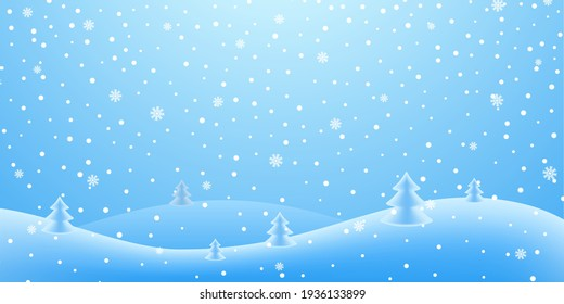Christmas holiday 3D background. Winter snow december landscape, white cold falling snowflake. Christmas tree, hill. Snowfall blue sky wallpaper. Wonderland abstract magic texture. Vector illustration