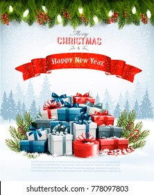 Christmas gift images stock photos vectors shutterstock christmas holiday background with colorful gift boxes and branches of tree vector negle Image collections