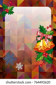 Christmas  holiday background with golden bells. Vector clip art