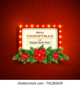 Christmas holiday background with retro frame, fir-tree and poinsettia . Merry Christmas and happy new year. Vector illustration.