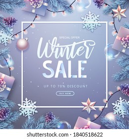 Christmas holiday background with silver fir tree, snowflakes, lights, pine cones and gift boxes. Winter big sale poster.