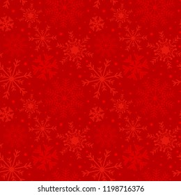 Christmas holiday background with snowflakes and stars in red. Abstract winter red pattern.