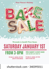 Christmas holiday bake sale flyer template with hand drawn cookie letters
