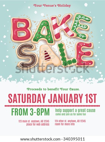 Christmas Holiday Bake Sale Flyer Template Image Vectorielle De