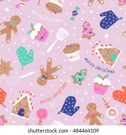 Christmas holiday baking seamless pattern with gingerbread cookies. Hand drawing vector illustration
