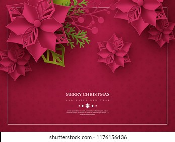 Christmas holiday banner. 3d paper cut style poinsettia with leaves. Purple background with frame and greeting text. Vector illustration