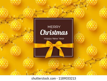 Christmas holiday banner. Realistic 3d baubles with geometric pattern, garlands and label with silk bow. Yellow New Year background. Vector illustration.