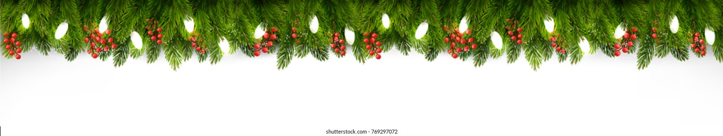 Christmas holiday board with branches of tree and garland on transparent background. Vector.