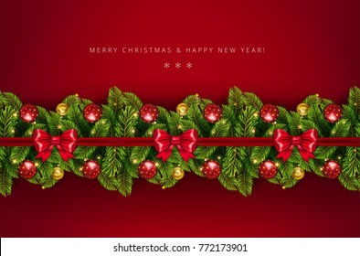 Christmas holiday border with realistic fir tree branches , balls, stars and other ornaments and decorations, isolated on rich red.  Vector stock illustration
