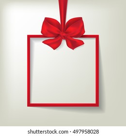 Christmas holiday card with frame and red bow. Vector illustration for your design.