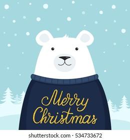 Christmas holiday card with a white polar bear. Merry Christmas! Vector illustration