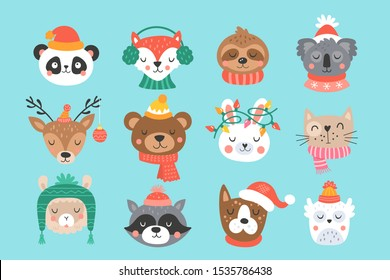 Christmas holiday cute animals set. Childish print for cards, stickers, apparel and nursery decoration. Vector Illustration