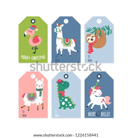 christmas holiday cute gift tags labels stock vector royalty free