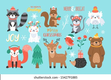 Christmas holiday cute woodland animals set. Childish print for cards, stickers, apparel and nursery decoration. Vector Illustration