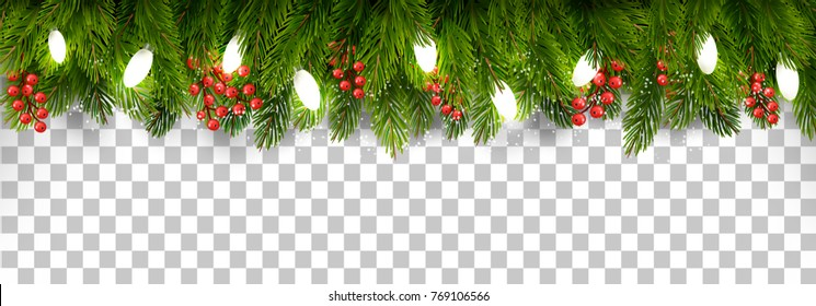 Christmas Holiday Decoration With Branches Of Tree And Garland On Transparent Background Vector