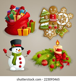 Christmas holiday decoration decorative icons set with gifts cookies snowman candle isolated vector illustration