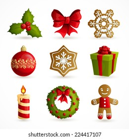 Christmas holiday decoration decorative icons set with mistletoe bow snowflake cookie isolated vector illustration