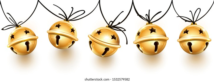 Christmas holiday decoration garland of golden jingle bells on the rope. Festive seamless pattern with banner with realistic bronze sleigh bells handing for christmas greeting. Vector illustration.