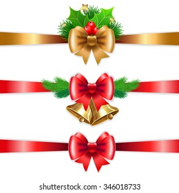 Christmas holiday decoration with red and gold ribbons. Set with branches and holly berry. Vector illustration for Christmas posters, icons, Christmas greeting cards, Christmas print and web projects.