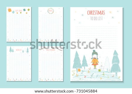 Christmas Holiday Do Lists Cute Notes Stock Vector (Royalty Free ...