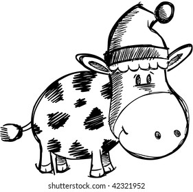 Christmas Holiday Doodle Sketchy Cow Vector Illustration