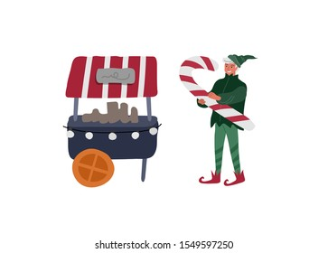 Christmas holiday Elf who holds big candy next to sweets stall. New Year card. Winter festive isolated Vector cartoon illustration